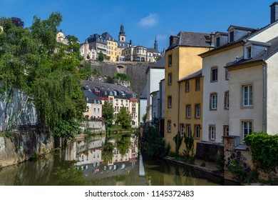 Luxembourg City - Ville de Luxembourg. The walls of the old town viewed from the Grund area of the city.