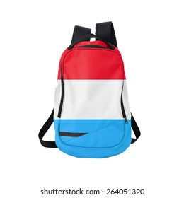 Luxembourg flag backpack isolated on white background. Back to school concept. Education and study abroad. Travel and tourism in Luxembourg