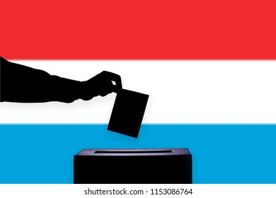 Luxembourg flag with ballot box