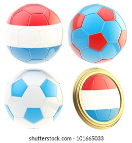 Luxembourg football team set of four soccer ball attributes isolated on white