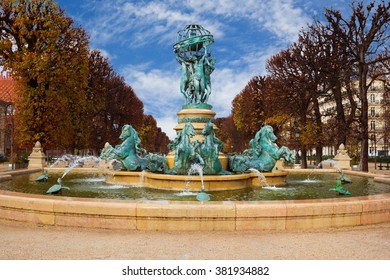Luxembourg Garden in Paris, Fontaine de Observatoir, Paris.