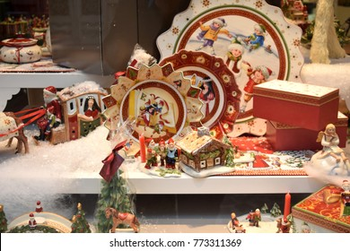 Luxembourg, Grand Duchy of Luxembourg - October 26, 2015: Christmas decoration on display in Villeroy & Boch store windows.