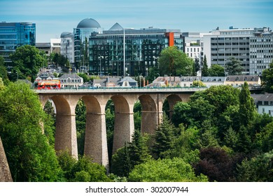 LUXEMBOURG, LUXEMBOURG - JUNE 17, 2015: Old Bridge - Passerelle Bridge Or Luxembourg Viaduct In Luxembourg.