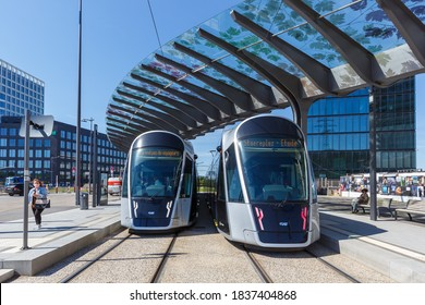 Luxembourg - June 24, 2020: Tram Luxtram train public transit transport Luxexpo station in Luxembourg.