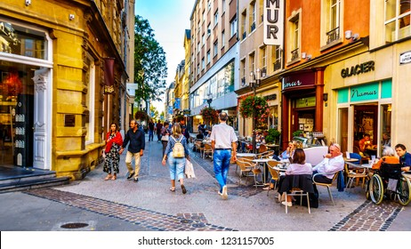 Luxembourg / Luxemburg - Sept. 20, 2018: Terrace on the corner of Rue des Capucines and the Grand-Rue shopping street in the heart of the city of Luxembourg