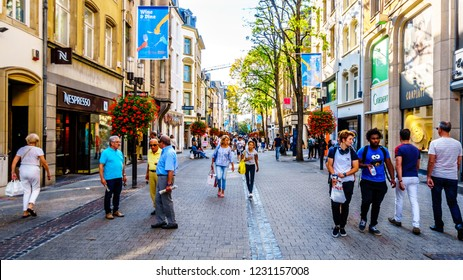 Luxembourg / Luxemburg - Sept. 20, 2018: Grand Rue shopping street in the heart of the city of Luxembourg