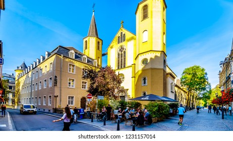 Luxembourg / Luxemburg - Sept. 20, 2018: Terrace on the corner of Rue Beaumont and Rue des Capucins, in front of Église Saint-Alphonse (Saint Alphonse Church) in the heart of the city of Luxembourg