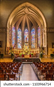 LUXEMBOURG, LUXEMBOURG - MAY 16,2018 - Inside of Cathedral Notre Dame in Luxembourg City. Luxembourg is one of the smallest countries in Europe.