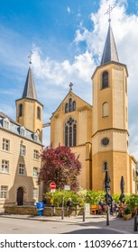 LUXEMBOURG, LUXEMBOURG - MAY 16,2018 - View at the church of Saint Alphonse in Luxembourg City. Luxembourg is one of the smallest countries in Europe.