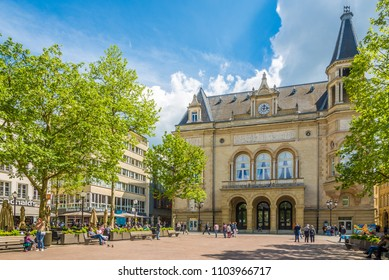 LUXEMBOURG, LUXEMBOURG - MAY 16,2018 - View at the Palace of Culture in Luxembourg City. Luxembourg is one of the smallest countries in Europe.