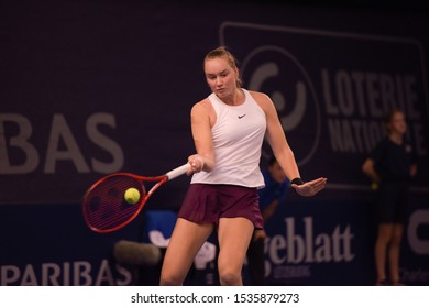 Luxembourg, Luxembourg - October 19, 2019: 3rd seed Elena Rybakina of Kazakhstan lost to 2nd seed and defending champion, Julia Goerges of Germany, in Semi-final of the BGL BNP PARIBAS WTA Luxembourg