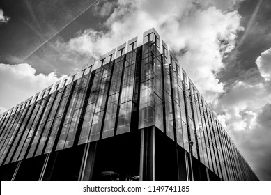 LUXEMBOURG, LUXEMBOURG - OCTOBER 30, 2015: Architecture of buildings in Luxembourg city black-white close-up photo. Luxembourg - October 30, 2015.