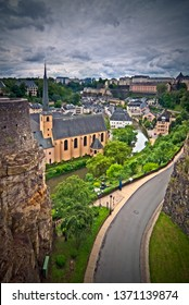 Luxembourg: the old city with the EU quarter in the bg