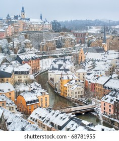 Luxembourg old town panorama on a white winter day
