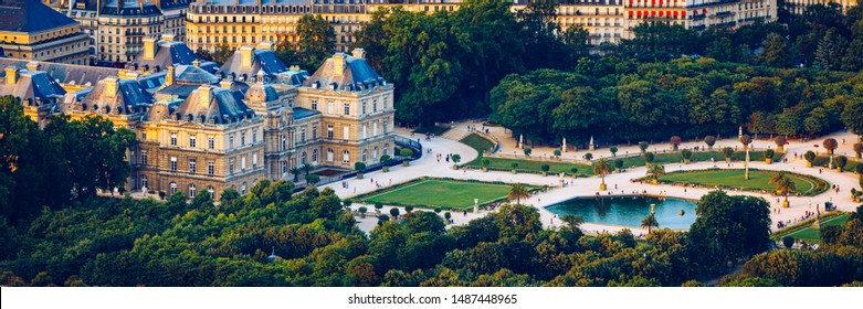 The Luxembourg Palace in The Jardin du Luxembourg or Luxembourg Gardens in Paris, France. Luxembourg Palace was originally built (1615-1645) to be the royal residence of the regent Marie de Medici.