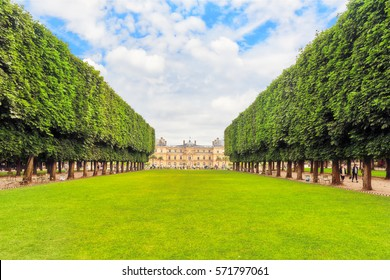 Luxembourg Palace and park in Paris, the Jardin du Luxembourg, one of the most beautiful gardens in Paris. France.