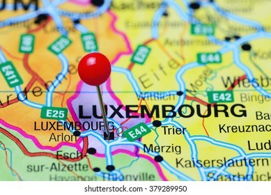 Luxembourg pinned on a map