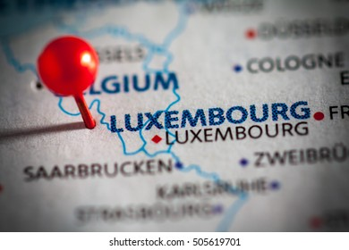 Luxembourg pinned on a map of Europe.
