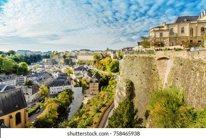 Luxembourg, Luxembourg - September 29, 2017: Panorama of Luxemburg (Balcony of Europe).