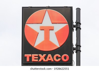 Luxembourg, Luxembourg - September2, 2018: Texaco logo on a pole. Texaco is an American oil subsidiary of Chevron Corporation