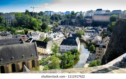 Luxembourg, Ville Basse, The Grund, viewed from the Ville Haute, High City