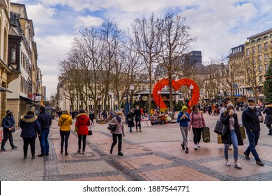 Luxembourg-City, Luxembourg - December 19, 2020 - people on the Place D'Armes main square in Luxembourg-City