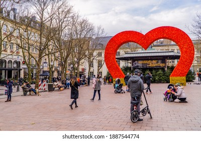 Luxembourg-City, Luxembourg - December 19, 2020 - a view of people on the Place D'Armes main square in Luxembourg-City