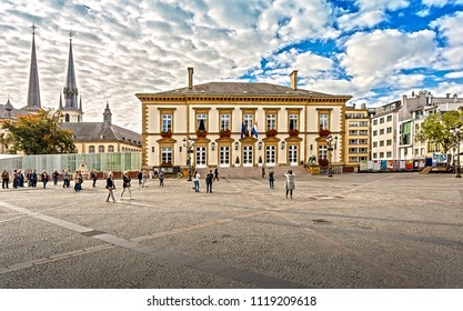 Luxemburg, Luxembourg - September 29, 2017: City Hall, the building of the Luxembourg City Hall is one of the main architectural landmarks of the city and an important historical monument.