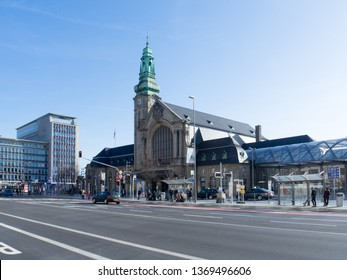 Luxemburg - March 11 2017: Travellers at the central railway station in Luxembourg. 