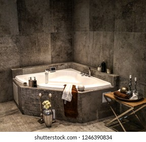 Luxery bathroom with bathtub in corner stone wall