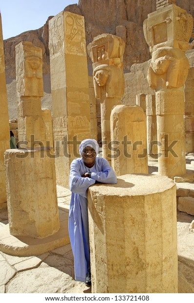 LUXOR, ANCIENT THEBES, EGYPT - JANUARY 13: Waiting for tourists on January 13, 2006 in Hatshepsut's mortuary temple complex at Deir el-Bahri. Tourism is an important item in the Egyptian economy.