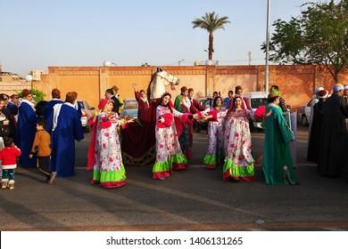 Luxor, Egypt - 01 Mar 2017. The holyday on the street in Luxor.