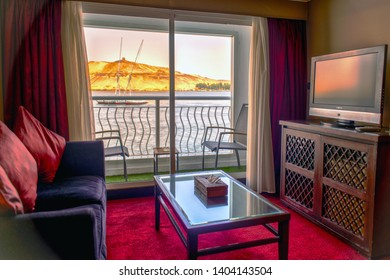 Luxor Egypt 18.05.2018 Interior and rooms of the Steigenberger Minerva Cruise Boat Hotel