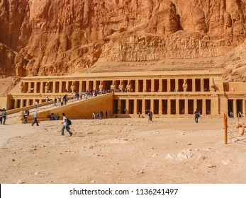 Luxor, Egypt - 2008 - Exterior of Mortuary Temple of Hatshepsut showing the road full of tourists.
