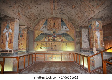 Luxor, Egypt - 28 Feb 2017. Frescos in the ancient necropolis Valley of the Kings in Luxor