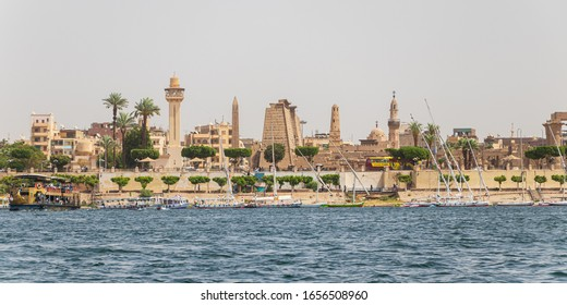 Luxor, Egypt - April 16, 2019: The Karnak temple at Nile river in Luxor, Egypt