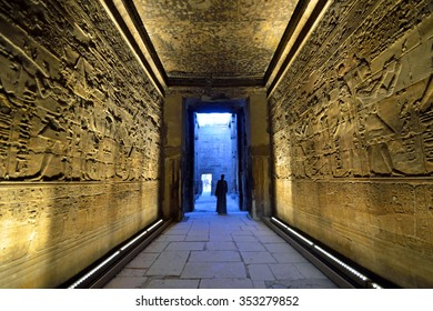 LUXOR, EGYPT - DECEMBER 3 2015: Luxor Temple is an Ancient Egyptian temple complex that was founded during the New Kingdom around 1400 BC and there are murals in an inner chamber of it.