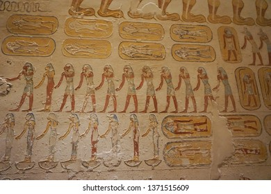 Luxor, Egypt: Detail of artwork in Tomb KV2, the burial place of pharaoh Rameses IV in the Valley of the Kings, on the West Bank of the Nile River.