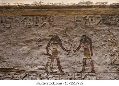Luxor, Egypt: Detail of artwork in Tomb KV11, the burial place of pharaoh Rameses III in the Valley of the Kings, on the West Bank of the Nile River.