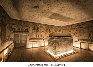 LUXOR, EGYPT - FEBRUARY 5 2016 - Unique shot of the Ay tomb in Valley of the Kings.