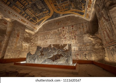 LUXOR, EGYPT - FEBRUARY 5 2016 - Unique shot of the sarcophagus in Ramesses VI tomb in Valley of the Kings.