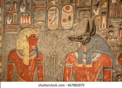 LUXOR, EGYPT - FEBRUARY 5, 2016: Detail of the wall in tomb of Horemheb in Valley of the Kings just few months after re-opening the tomb.