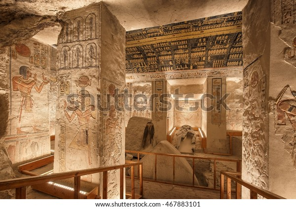 LUXOR, EGYPT - FEBRUARY 5 2016 - Unique shot of the Ramesses VI tomb in Valley of the Kings. Obtaining permission for taking images there is painstaking but worth it.
