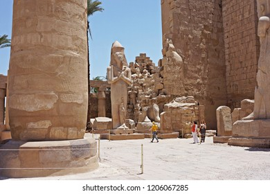 LUXOR, EGYPT - JULY 22, 2016: Beautiful ruins of Karnak temple in Luxor, Egypt