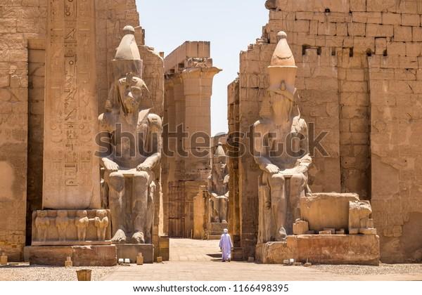 LUXOR, EGYPT - JUNE 14, 2014: Pharaoh Rameses II Statue in Luxor Temple, Egypt, Africa