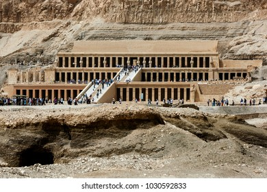 LUXOR, EGYPT - MARCH 15, 2010 : The magnificent Temple of Hatshepsut at Deir al-Bahri near Luxor in central Egypt. The temple was built by Queen Hatshepsut (1473-1458 BC) as a funerary monument.