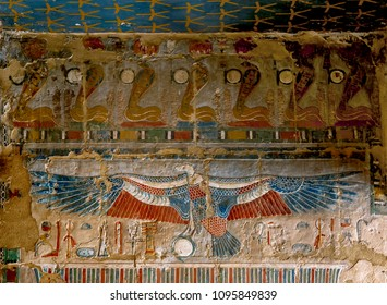 LUXOR, EGYPT - MAY 05, 2013 : LUXOR, EGYPT - MAY 05, 2013 : One of the spectacular reliefs displaying the vulture goddess Nekhbet at the Mortuary Temple of Hatshepsut at Deir al-Bahri near Luxor.