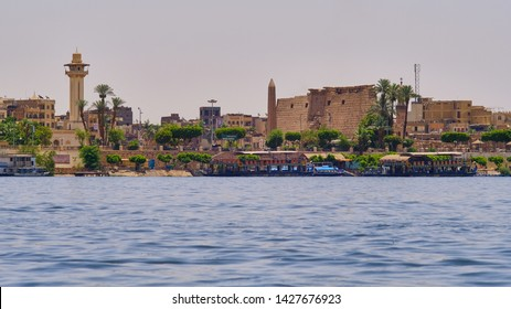 Luxor / Egypt - May 23rd 2019: Luxor Temple on the east bank of the Nile River in the city of Luxor (ancient Egyptian capital of Thebes). Luxor Temple was constructed approximately 1400 BCE.