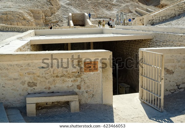 Luxor, Egypt - November 13. 2006: Tomb of Tutankhamon in Valey of the Kings. Archaeological research in the mountains of the Valley of the Kings in the ancient Egyptian capital of Thebes