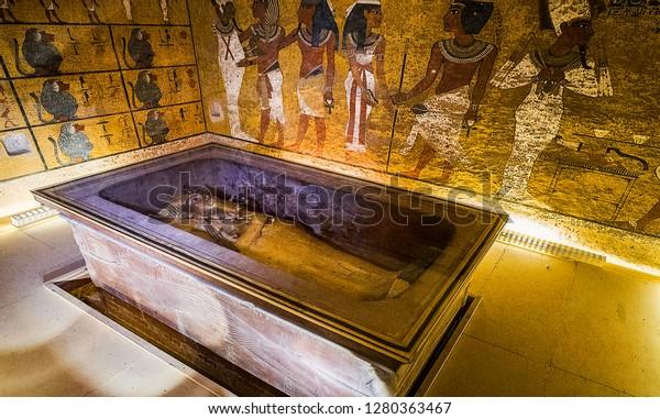 Luxor, Egypt, November 16, 2018: Tomb of Tutankhamun, Luxor, Egypt